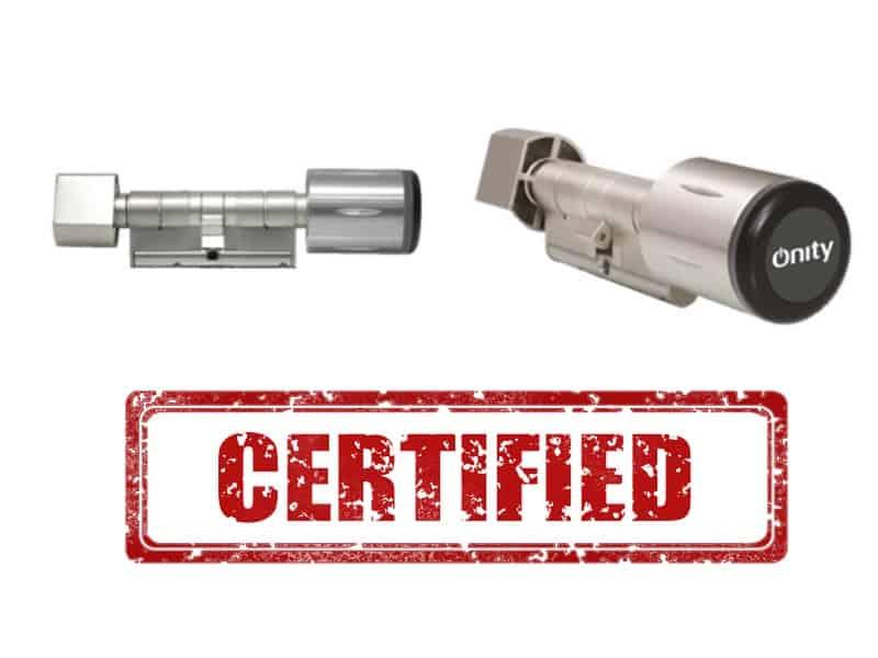certificacion de los cilindros RFID de Onity ecylindermax y automax
